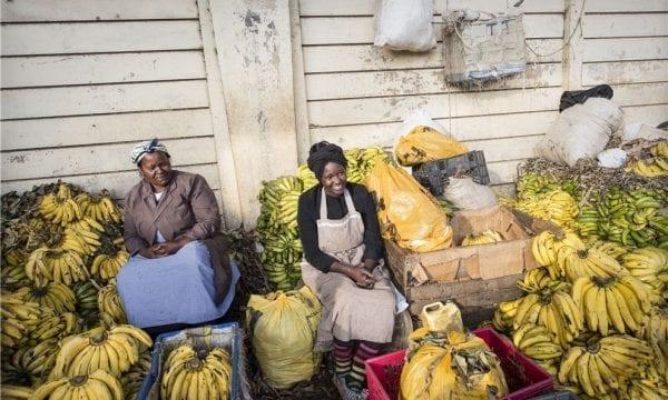 Women selling bananas at market