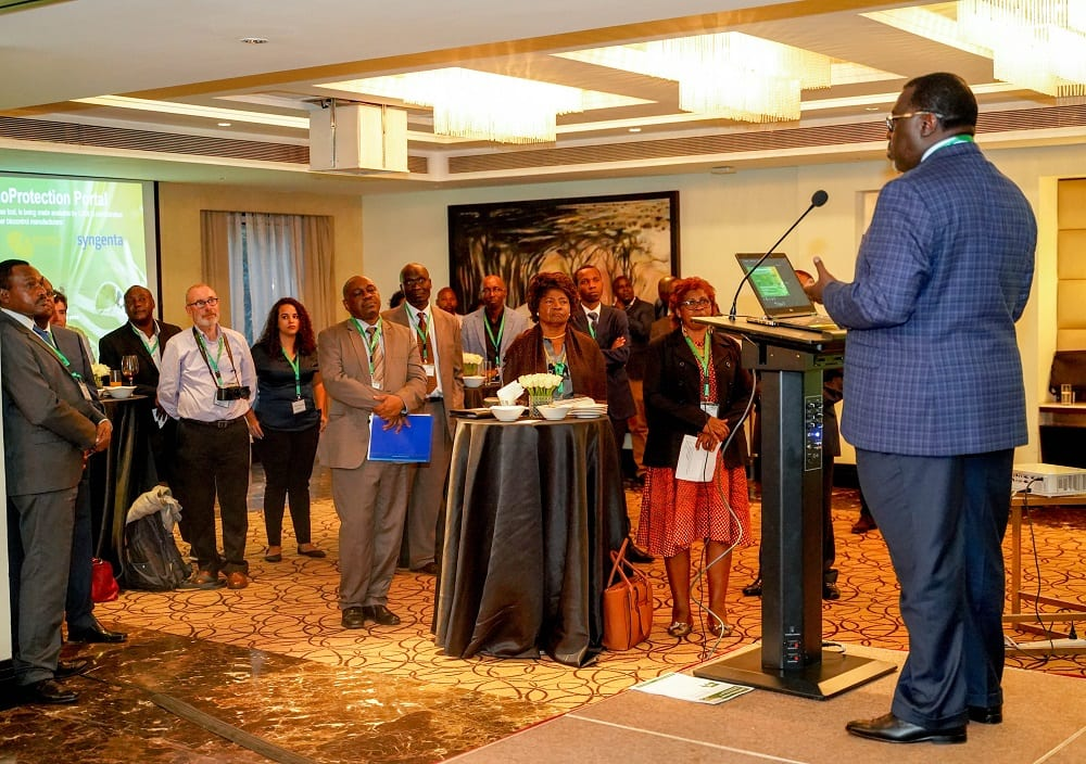 Dr Dennis Rangi addresses the BioProtection Portal launch