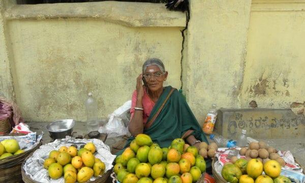 Fruit Seller Woman on Mobile