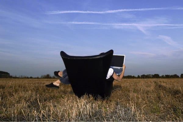 Armchair in a field