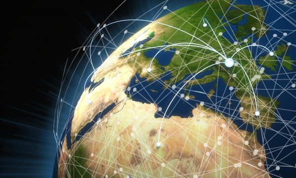 Image of the world with connections