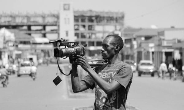 Journalist filming