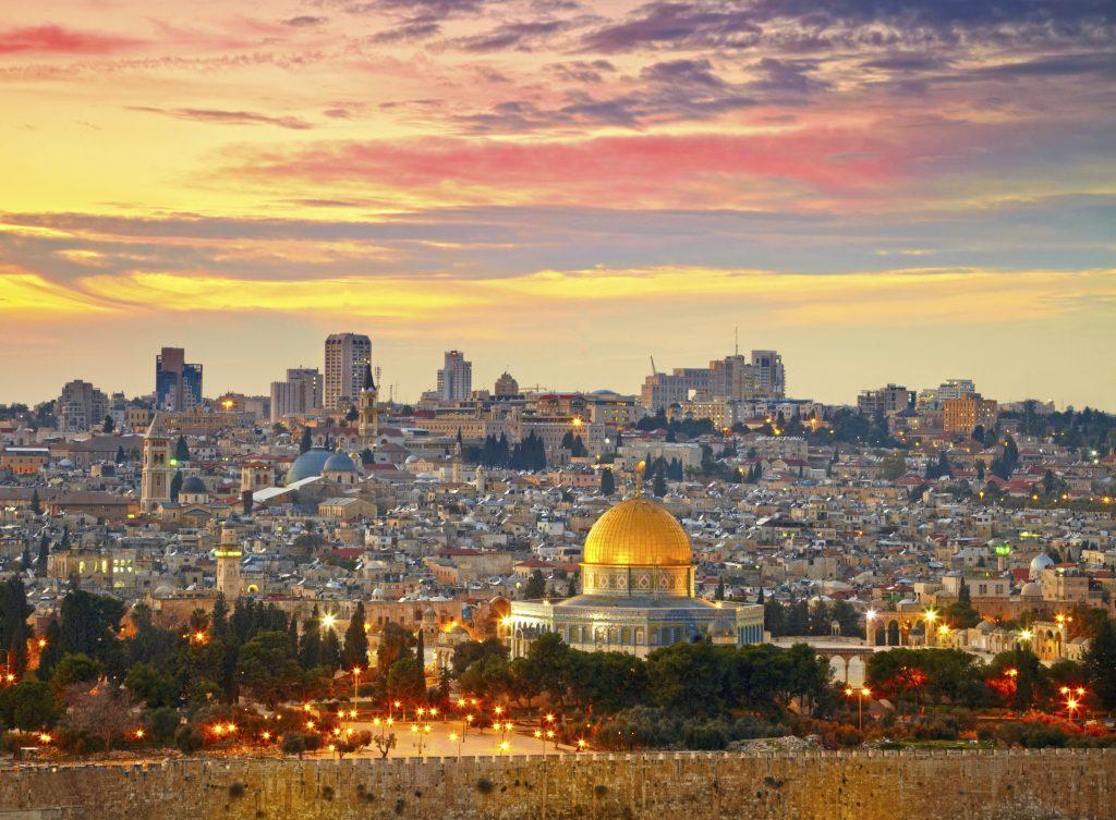 View over Jerusalem old city at sunset