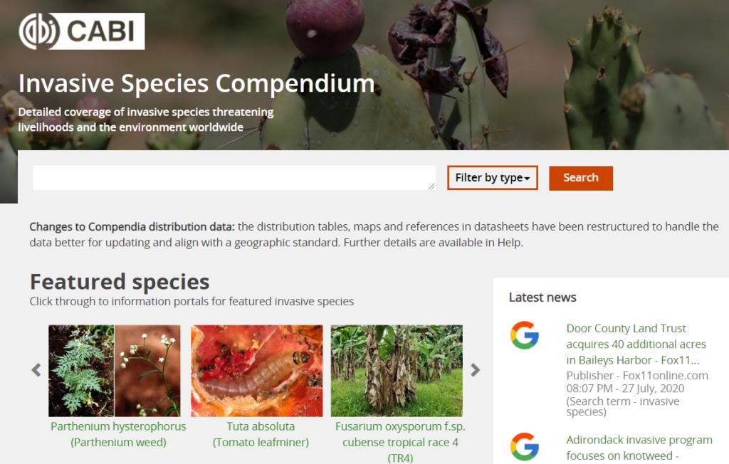 Screenshot of Invasive Species Compendium hompage