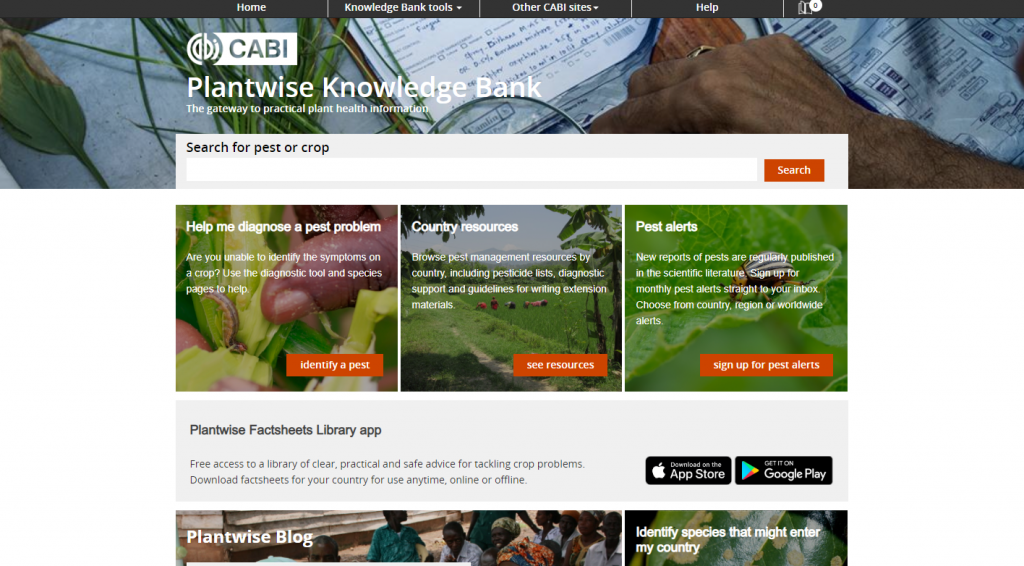 screenshot of the Plantwise Knowledge Bank homepage