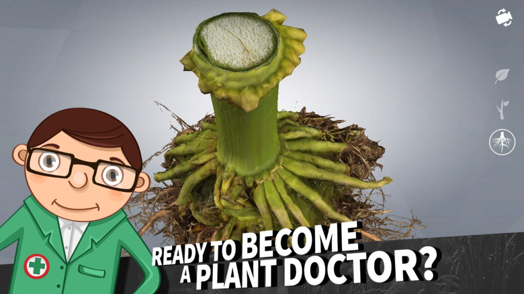 """Screenshot from PestSmart Diagnostic Simulator with text 'Ready to Become a Plant Doctor?"""" across the bottom"""