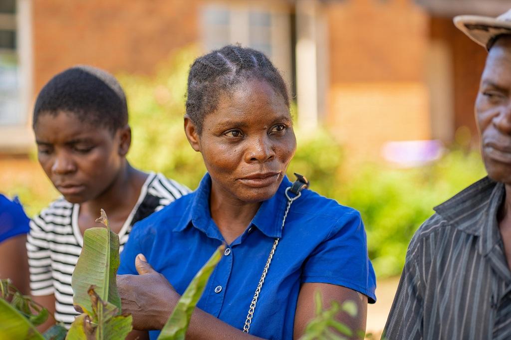 Female farmer at a plant clinic
