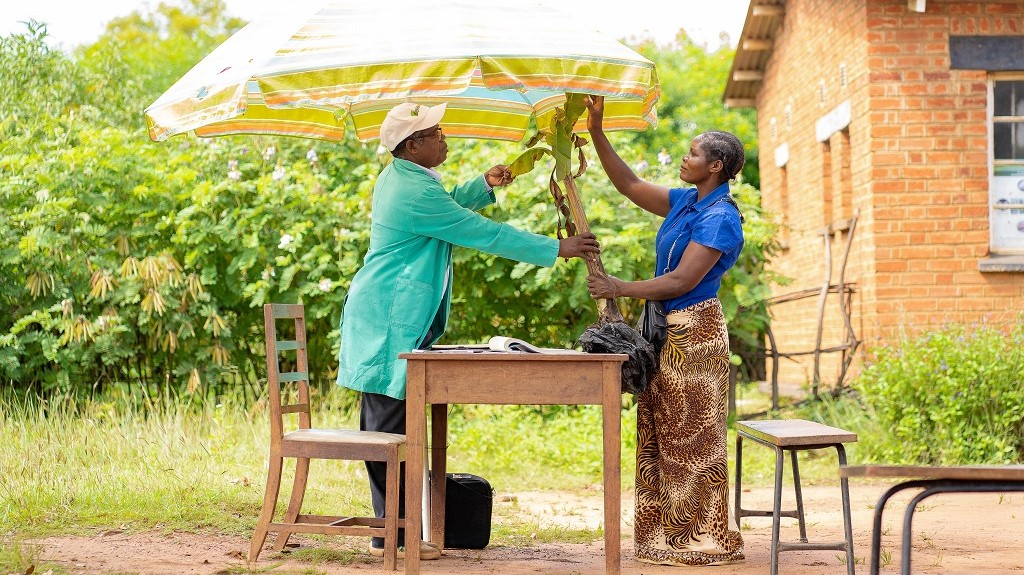 Mayi Joyce Vito and the Plant Doctor, Mr Simplex Chisale examining a diseased banana plant during a plant clinic session, Nanjiri, Lilongwe, Malawi