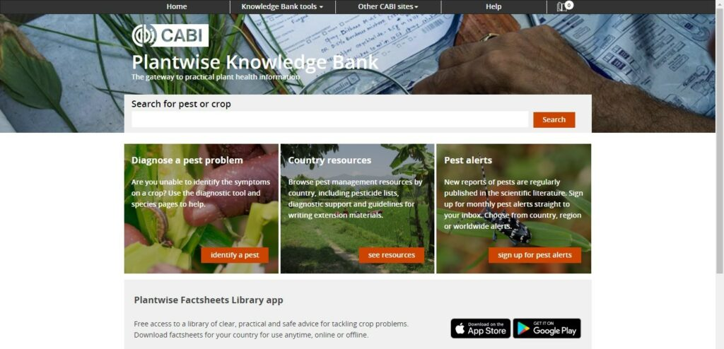 Plantwise Knowledge Bank Homepage