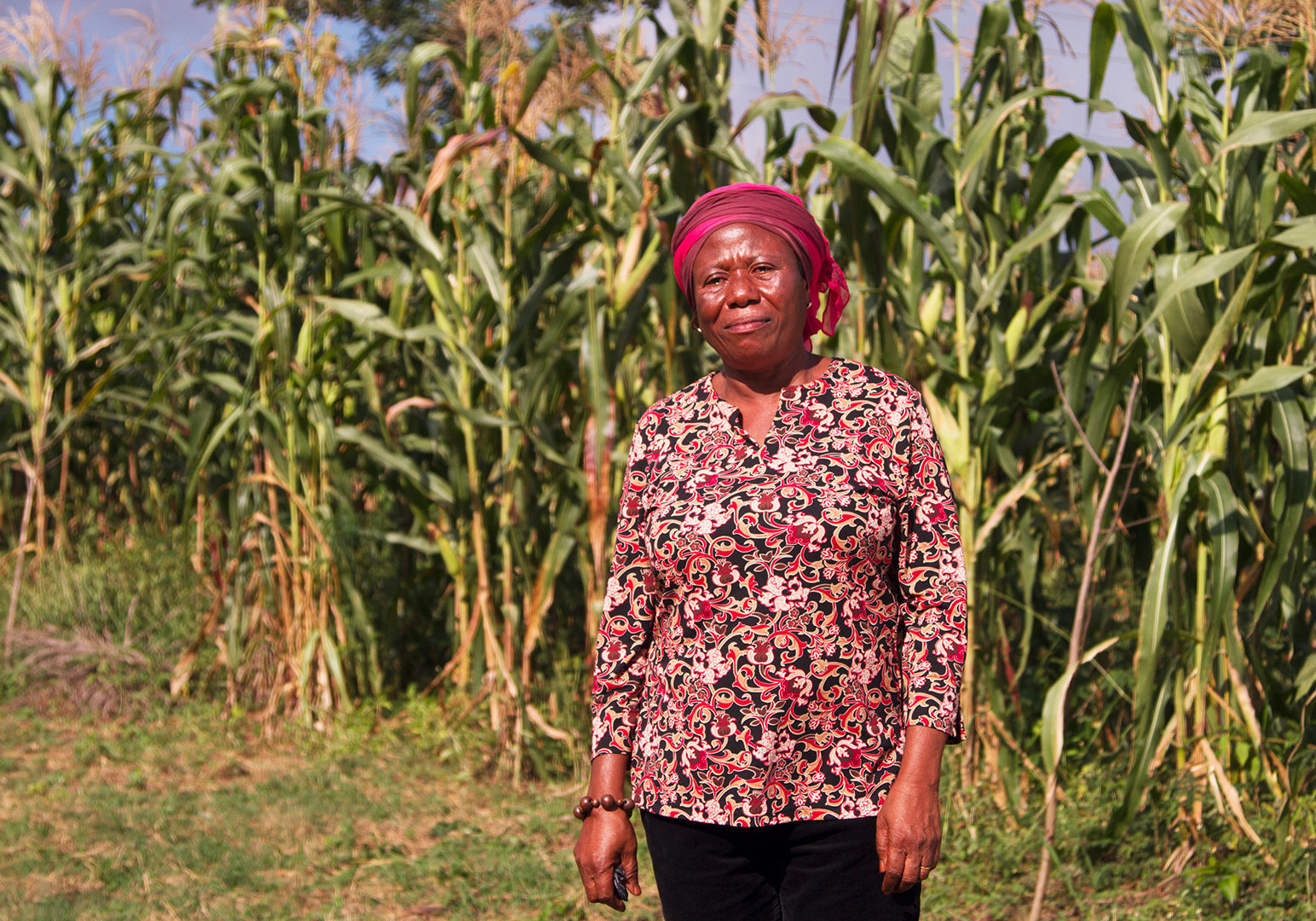 An female African farmer standing in front of a maize field